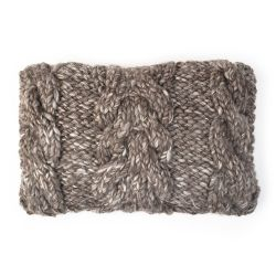 Boho Super Chunky Grey Knitted Wool Cushion